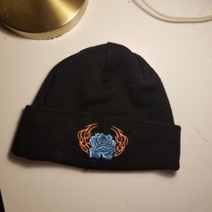 Embroidered floral beanie